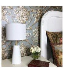 abajur de quarto com cúpula - branco com dourado