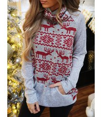 turtleneck christmas elk graphic tunic sweatshirt