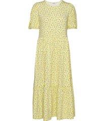enmanon ss o-n dress aop 5329 knälång klänning gul envii