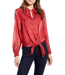 women's vince camuto tie front iridescent blouse, size medium - red
