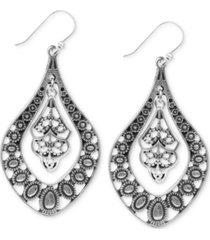 lucky brand earrings, filigree oblong earrings