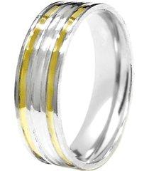 aliança prata mil reta c/ meio abaulado de prata c/ filete de ouro prata