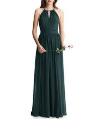 women's #levkoff keyhole neck chiffon a-line gown, size 10 - green