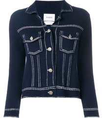 barrie denim style knitted cardigan - blue