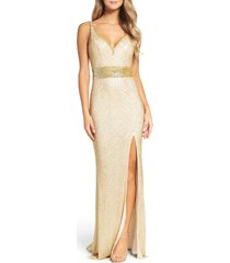 women's mac duggal beaded mesh column gown, size 14 - metallic