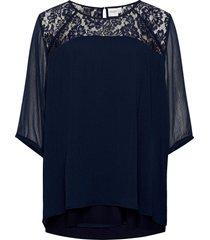 jrcarolina 3/4 blouse - k noos blouses short-sleeved blå junarose