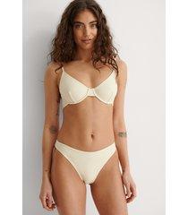 na-kd swimwear återvunnen högt skuren bikinitrosa - offwhite