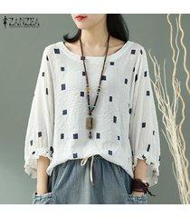 zanzea camisa de manga cuadrada con volantes de linterna para mujer blusa batwing con cuello en o más talla grande -blanco