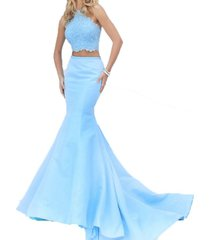 fanmu halter beading two piece mermaid prom dresses formal evening gowns blue...