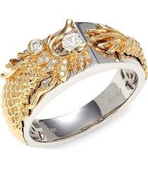 effy men's 14k two-tone gold & diamond dragon ring - size 10