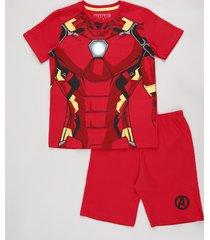 pijama infantil carnaval homem de ferro manga curta vermelho