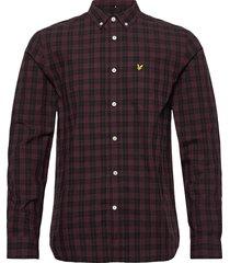 check poplin shirt skjorta casual röd lyle & scott
