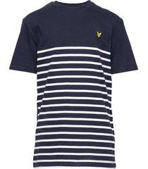 s/s breton block stripe t-shirt t-shirts short-sleeved blå lyle & scott junior