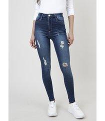 calça jeans feminina sawary pantacourt cintura alta azul escuro