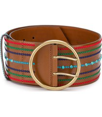 etro embroidered belt - brown