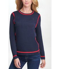 tommy hilfiger women's essential tipped sweater sky captain/ scarlet - xs