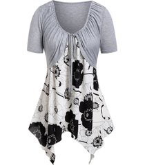 plus size floral handkerchief cami top with tee