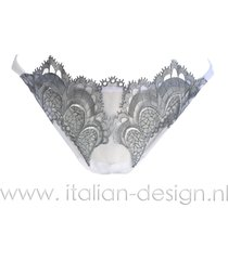 ambra lingerie slips grand arche tanga wit/grijs 1325