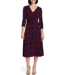 women's chaus plaid wrap midi dress