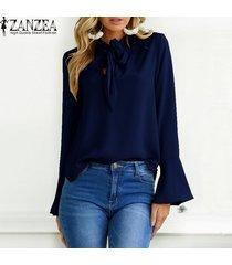 zanzea mujeres de gran tamaño sólido largo de la llamarada del partido holgada manga ata para arriba la pajarita suelta elegante suéter de la manera del ocio de la blusa breve -azul