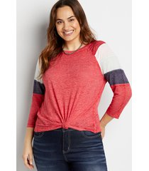 maurices plus size womens 24/7 bright cherry striped baseball tee red