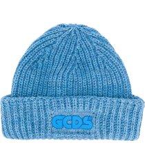 gcds chunky-knit logo beanie - blue