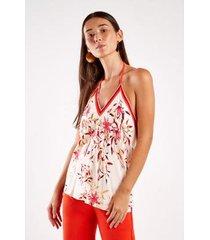 blusa sacada est lenço floral leila feminina