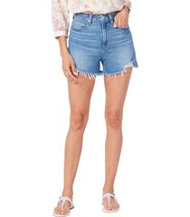 women's paige dani high waist fray hem denim shorts, size 29 - blue