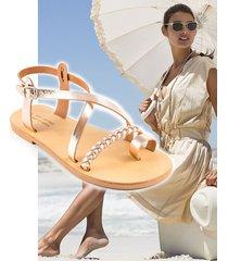 sandały greckie ze skóry - rose gold