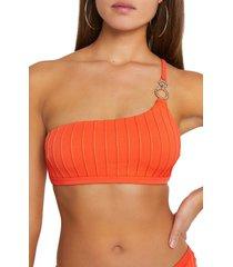 river island ring trim one-shoulder bikini top, size 4 us in orange at nordstrom