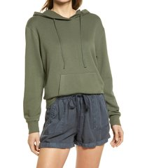 women's caslon french terry pullover hoodie, size xx-small - green