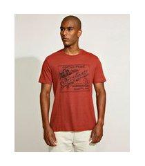 camiseta masculina básica brahma manga curta gola careca laranja escuro
