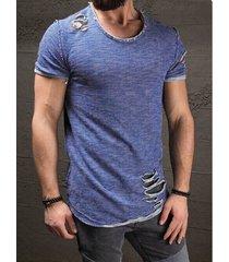 hombres summer casual cotton plain ripped delgado camiseta ajustada
