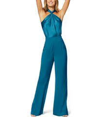 women's ramy brook convertible stretch silk charmeuse top, size small - blue