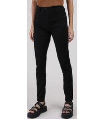 calça de sarja feminina sawary skinny lipo cintura super alta preta