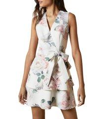 women's ted baker london dewana floral print faux wrap dress