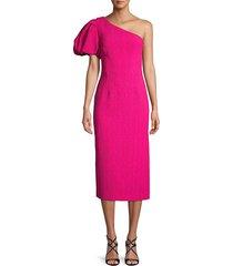 rebecca vallance women's natalia one-shoulder midi dress - magenta - size 2