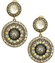goldtone rhinestone & glass bead pendant dangle-drop earrings