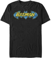 fifth sun dc men's batman classic distressed bat text logo short sleeve t-shirt