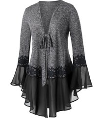 plus size space dye tie flare sleeve cardigan
