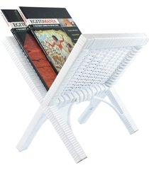 porta revisteiro x jornais sala e escriório fibra sintética 29x35x33 - branco