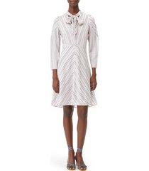 women's tailored by rebecca taylor long sleeve stripe dress