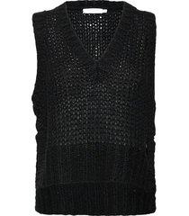 vest with v-neck and slits vests knitted vests zwart coster copenhagen