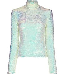a.w.a.k.e. mode sequin-embellished long-sleeve t-shirt - blue