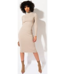 akira best friend ribbed long sleeve midi dress