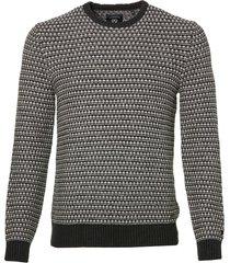 lerros pullover - modern fit - zwart