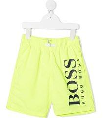 boss kidswear logo print swim shorts - yellow
