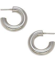 silvertone pipe hoop earrings