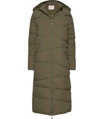 gaiagrocr long jacket gevoerde lange jas groen cream