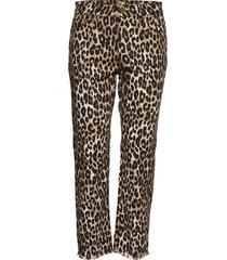 cheetah cropd drain byxa med raka ben brun michael kors